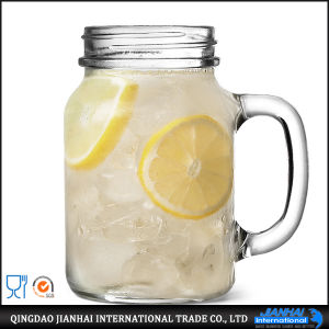 Fashinable Glass Mason Jar with Metal Lid and Straw pictures & photos