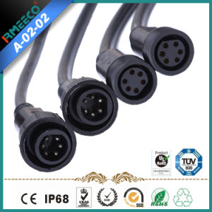 M18 Circular Waterproof Cable Connector Assembly 6pins Black Color