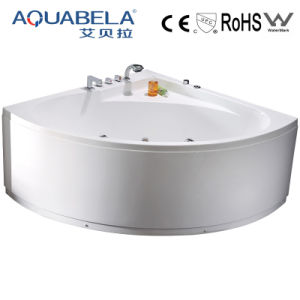 Classical White Corner Whirlpool Bathtub with Faucet Shower (JL802)) pictures & photos