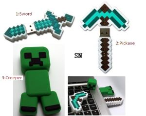 Wholesale Minecraft Creeper USB Disk Pickaxe USB Memory Sword USB Drive Minecraft Gift 4GB 8GB 16GB 32GB 64GB Cartoon USB pictures & photos