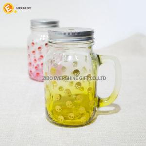 Skull Decal Glass Juice Bottle Storage Mason Glass Jar pictures & photos