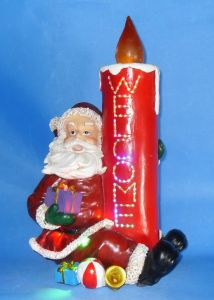"11.5""LED and Fiber Optic Candle with Santa and Xmas Music (181-18029B)"