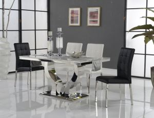 Hot Sale Tempered Glass with Stainless Steel Base Dining Table pictures & photos