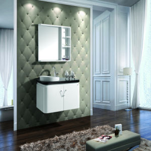 European Style Pure White Lacquer Oak Wood Cabinet for Washroom