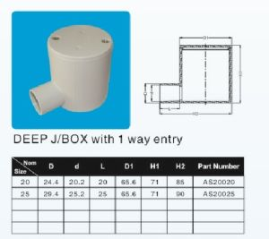 20mm 25mm One Way Deep J/B UPVC Pipe Fitting pictures & photos
