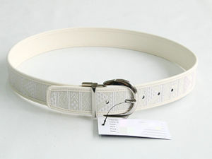 Geometric Jacquard Reversible Removable Buckles Leather Belt pictures & photos