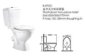 White Color Two-Pieces Bathroom Toilet (87021) pictures & photos