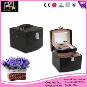 Silver Diamond PU Leather Mirror Simple Design Beauty Cosmetic Case (1540) pictures & photos