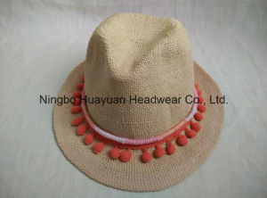 100% Paper Hand Woven Band Tassel Fedora Straw Hat pictures & photos
