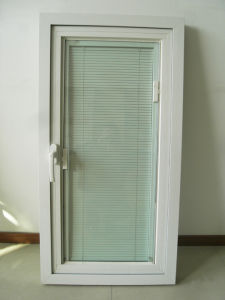 Aluminum Profile Casement Window with Shutter Between Double Glass K03042 pictures & photos