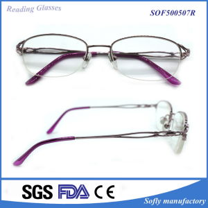 Hot Selling Halfframe Eyeglasses Frame Metal Reading Glasses pictures & photos