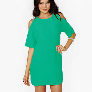 Summer Hot Sale off-Shoulder Chiffon Loose Casual Mini Fashion Dress pictures & photos