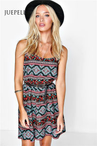 Romonna Ehtnic Printed Strappy Sund Beach Women Dress pictures & photos
