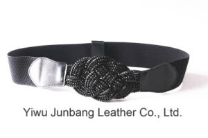 Woman Fashion Belt Waistband PU Belt Elastic Belt with Chinese Knot Jbe1635