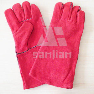 Pink Split Leather Ab/Bc Grade Welding Safety Glove with CE pictures & photos