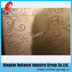 4mm/5mm/6mm Silver /Golden Color Designed Decorative Glass / Hotel Decoration Glass/ Acid Etched Decorative Glass pictures & photos