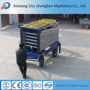 Hydraulic Four Wheels Electric Lift Table with Wooden Packing pictures & photos