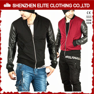 Hip Hop Men Bomber Jacket Leather Sleeve pictures & photos