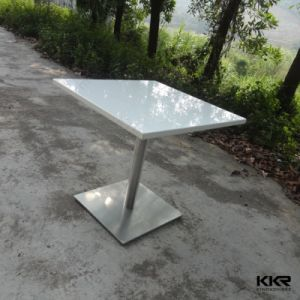Kingkonree White Dining Table Square Solid Surface Table pictures & photos