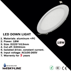 Ce & RoHS Approvalled 18W LED Round Panel Light with External Driver