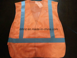 Safety Vest Flu Orange 100%Polyester Mesh pictures & photos