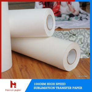 Fast Dry/Quick Dry 50GSM Inkjet Heat Transfer High Speed Printing Sublimation Transfer Paper Jumbo Roll for 120′′ Textile pictures & photos