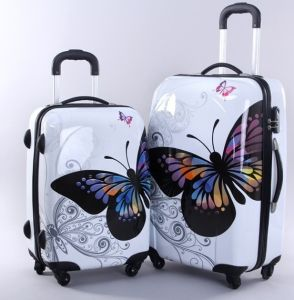 Butterfly Panle White PC Trolley Suitcase pictures & photos