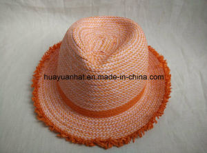 Mixed Color Paper Braid Fedora Straw Hat pictures & photos