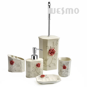 Polyresin Bathroom Accessories with Embossment Rose (WBP0263A) pictures & photos