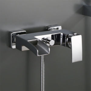 Wall Mounted Brass Bath & Shower Faucet for Bathtub in Square Shape