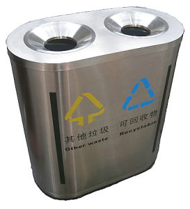 Hot Selling Stainless Steel Plaze Trash Bin (HW-169) pictures & photos