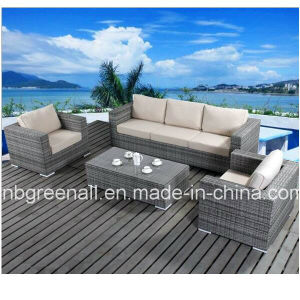 Aluminum Frame Wicker Furniture Rattan Sofa Set for Garden (9059) pictures & photos