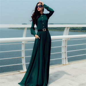 Women Latest Long Sleeve Plus Size Maxi Dress (Dress 146) pictures & photos