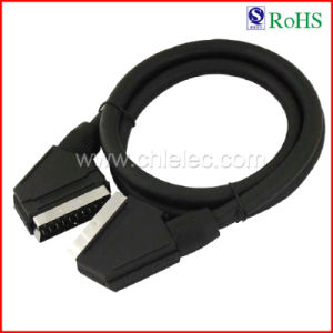 21p Black PVC Jacket Male to Male Scart Cable (SY032) pictures & photos