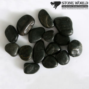 Natural Stone Polished Black Cobblestone for Landscape & Garden (RS-006) pictures & photos