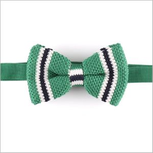 Topselling Green Stripes Classic Polyester Knitted Men′s Bow Tie (YWZJ 50) pictures & photos