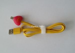 USB Cable with LED Cartoon Flashing Retractable Connector Flat Cable
