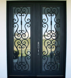 Old Style Wrought Iron Double Entry Door pictures & photos