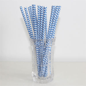 2016 New Launch Disposable Party Paper Straws Blue Chevon pictures & photos