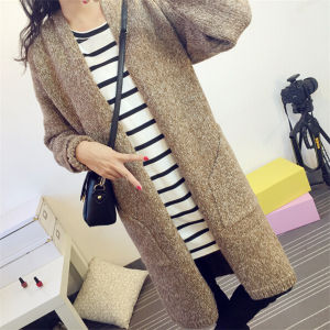 2015 Long Section V-Neck Knit Cardigan Sweater Coat for Women (50248-1) pictures & photos