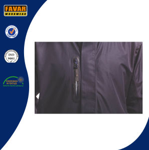 Black Polyester Waterproof Taslon PU Coating Rain Jacket pictures & photos