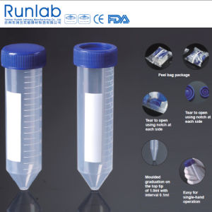 FDA and CE Approved 50ml Conical-Bottom Centrifuge Tubes with Printed Graduation in Peel Bag Pack pictures & photos