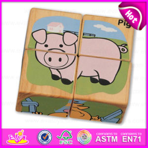 4PC Wooden Custom Cubic 3D Jigsaw Puzzle Set for Kids Learn English Words W14f044 pictures & photos