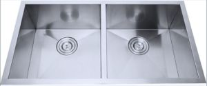 Handmade Square Stainless Steel Kitchen Sink, 90° Double Bowl (C84*46*22-S16) pictures & photos