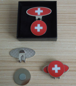 Customized Switzerland Golf Ball Marker Golf Hat Clip in a Box pictures & photos