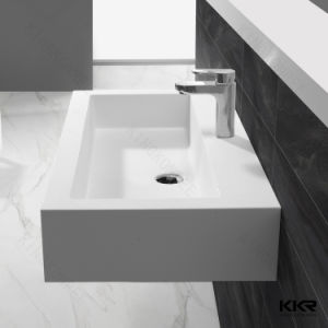 Resin Stone Bathroom Sink Solid Surface Wall Hung Basin pictures & photos