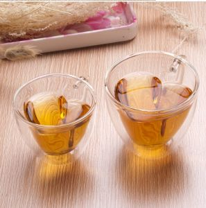 Heat Resistant Double Wall Heart Shape Glass Cup From Chinese Factory pictures & photos
