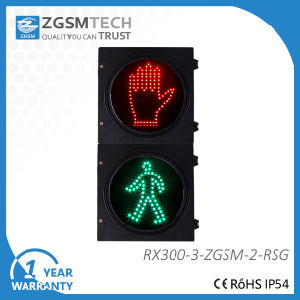 Two Aspects Pedestrian LED Traffic Signal with Red Stop and Green Man