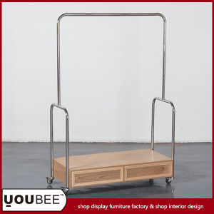Shop Stainless Steel Wooden Display Shelf Stand Rack for Clothes pictures & photos