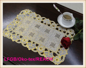 PVC Lace Table Mat/Placemat with Gold and Silver pictures & photos